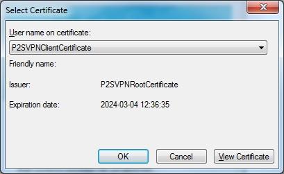 select cert p2svpn